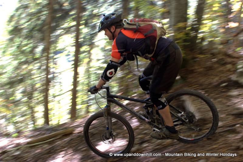 Panning shot of mountain biker on holiday