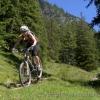 Female mountain biker doing a small drop off